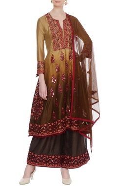 Yellow & muddy brown ombre chanderi gota embroidered kurta set