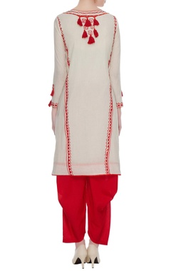 Cream & red tassel anarkali with dhoti pants set