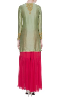 Green chanderi silk gota embroidered kurta set