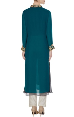 Teal blue georgette embroidered kurta