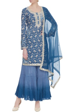 Blue floral printed kurta with gharara pants & dupatta