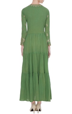 Green tiered style anarkali