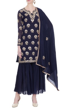 Navy blue chanderi kurta & sharara set