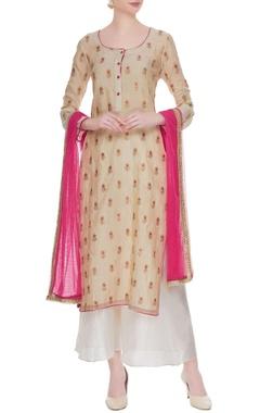 Beige gota embroidered kurta with white palazzos & dupatta