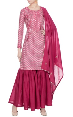 Pink embroidered kurta with gharara pants & dupatta