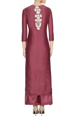 Maroon chanderi embroidered kurta set