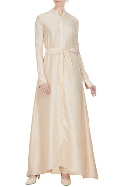 Manish Malhotra Beige dupion kashimiri embroidered anarkali kurta with cream sharara pants