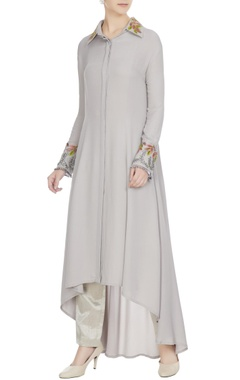 Manish Malhotra Grey double georgette resham embroidered tunic