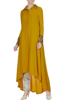 Manish Malhotra Mustard yellow double georgette resham embroidered tunic