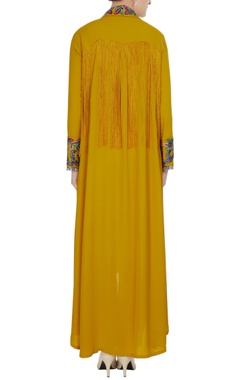 Mustard yellow double georgette resham embroidered tunic