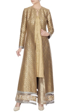 Manish Malhotra Gold & grey banarasi jacket & gold banarasi kurta & lame pant
