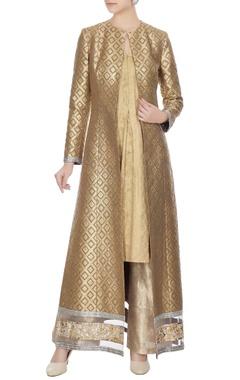 Manish Malhotra Gold & grey banarasi jacket & gold banarasi kurta & lame pant