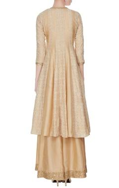 Light beige thread embroidered kalidar kurta set