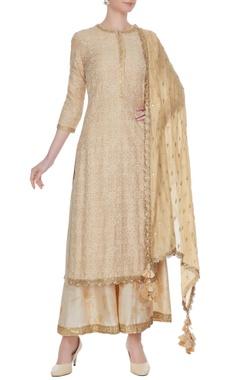 Beige gold sequin embroidered kurta & palazzo set