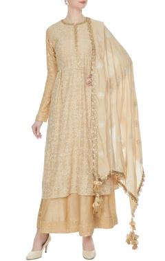 Beige threadwork & sequin embroidered kurta set