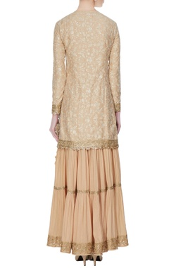 Beige & gold threadwork kurta set