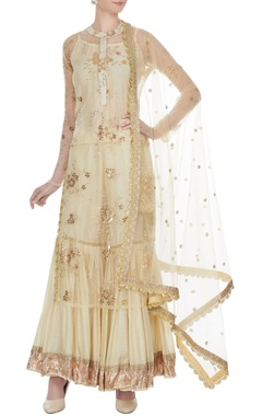 Beige cotton printed & embroidered kurta with sharara & dupatta