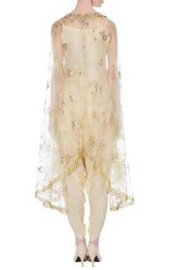 Beige & gold sequin embroidered cape with tulip pants & short kurta
