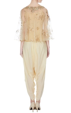 Beige cotton printed cape with tulip pants