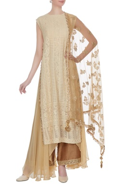 Beige raw silk & georgette butti work asymmetric kalidar kurta with pants & dupatta