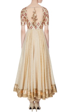 Beige chanderi & net embroidered anarkali kurta with churidar & dupatta