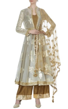 Olive green & beige organza, net & raw silk  kalidar kurta with cape, pants & butti work dupatta
