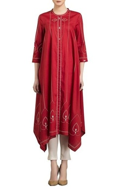 AM:PM Red & ivory screen printed kurta with pants