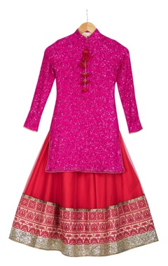 Pink sequin embroidered kurta with red net lehenga