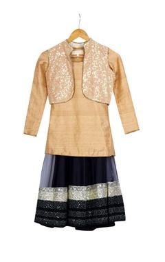 Vikram Phadnis - Kids Beige & black shimmer georgette kurta with skirt & jacket