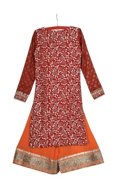 Red pre-embroidered collar kurta with palazzos