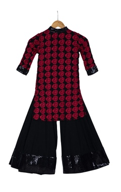 Red & black pre-embroidered fabric & voile kurta with palazzos