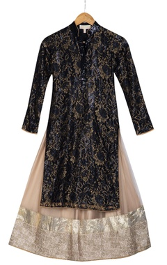 Beige & black lace long kurta with net lehenga
