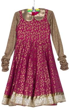Pink georgette brocade kalidar kurta with net churidar