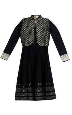 Vikram Phadnis - Kids Black kalidar kurta with pre-embroidered jacket & churidar