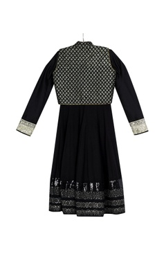 Black kalidar kurta with pre-embroidered jacket & churidar