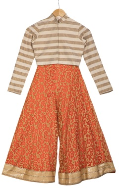 Vikram Phadnis - Kids Beige stripe chanderi choli blouse with pre-embroidered orange flared pants