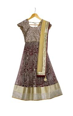 Vikram Phadnis - Kids Beige & wine lehenga with sequence borders with blouse & dupatta