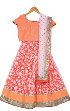 Vikram Phadnis - Kids Neon orange pre-embroidered lehenga with blouse & dupatta