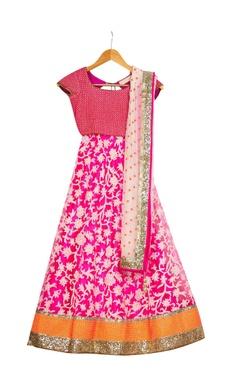 Vikram Phadnis - Kids Pink pre-embroidered lehenga with blouse & dupatta