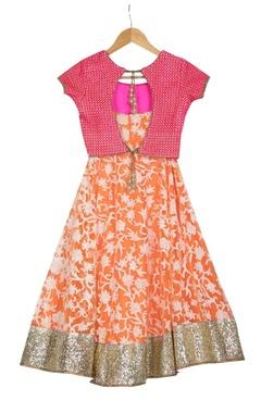 Orange pre-embroidered net lehenga set