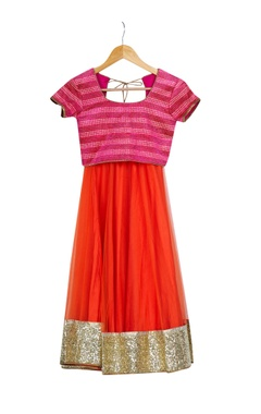 Pink & orange lehenga set