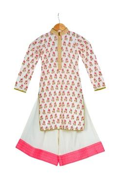Vikram Phadnis - Kids Cream & pink cotton block printed kurta with box pleated pants