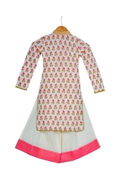 Cream & pink cotton block printed kurta with box pleated pants