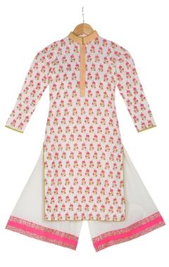 Vikram Phadnis - Kids Pink cotton block printed kurta with box pleated pants