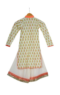 Cream & orange cotton block printed kurta with box pleated pants