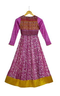 Purple printed crop top with umbrella skirt