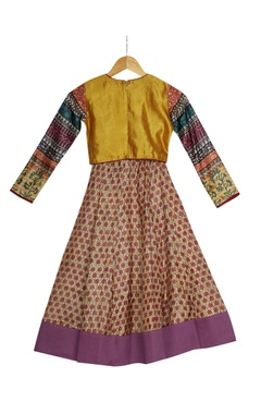 Mustard & multiprinted full sleeve crop top with flared skirt