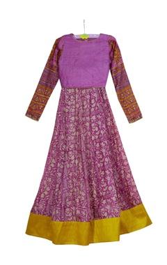 Vikram Phadnis - Kids Purple printed crop top with umbrella skirt