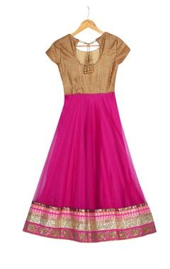 Pink & gold jalabia style anarkali with belt