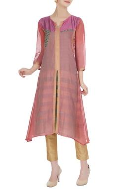 Jajobaa Pink jacket style chanderi kurta